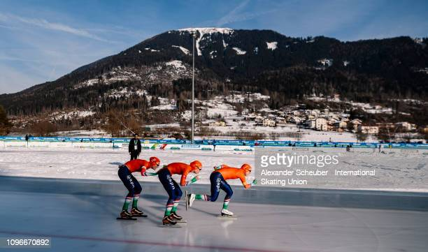 Team Netherland competes in the Ladies Team Pursuit sprint race during the ISU Junior World Cup Speed Skating Final day 1 on February 9 2019 in...