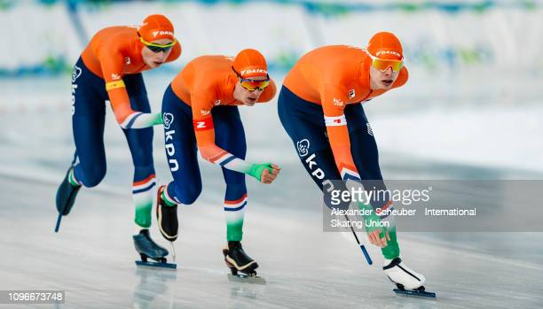 Team Netherland competes in the Mens Team Pursuit sprint race during the ISU Junior World Cup Speed Skating Final day 1 on February 9 2019 in Trento...