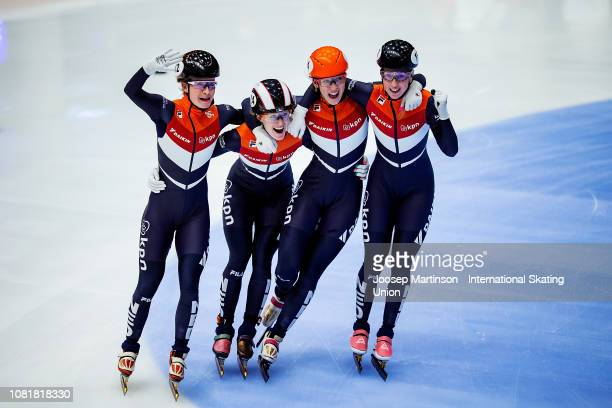 Team Netherlands celebrate after finishing first in the Ladies Relay final during the ISU European Short Track Speed Skating Championships at...