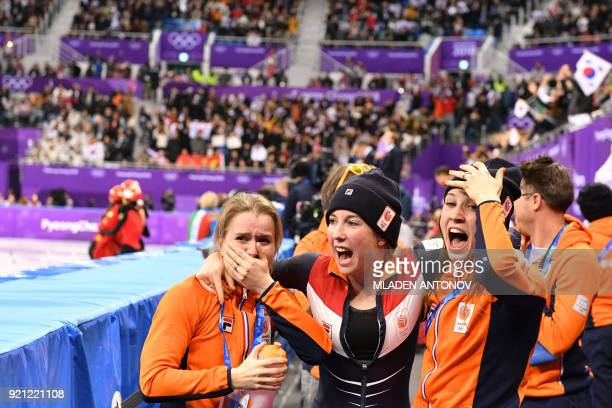 TOPSHOT Team Netherlands celebrate after the women's 3000m relay short track speed skating B final event during the Pyeongchang 2018 Winter Olympic...