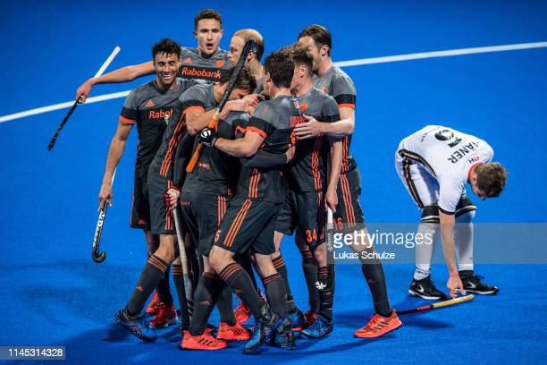 Team Netherlands celebrate their teams third goal during the Men's FIH Field Hockey Pro League match between Germany and Netherlands at Hockeypark on...
