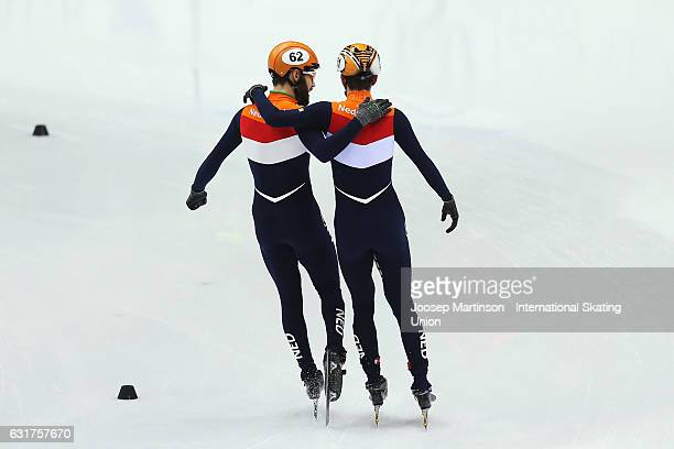 Team Netherlands celebrates after the Men's 5000m relay final during day 2 of the European Short Track Speed Skating Championships at Palavela Arena...