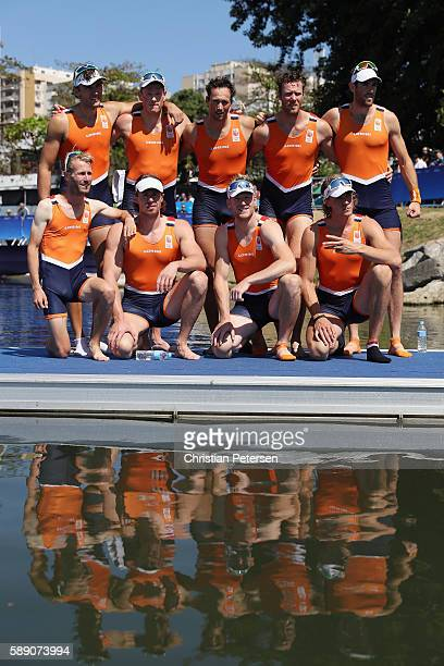 Team Netherlands celebrates winning the bronze medals after the Men's Eight Final A on Day 8 of the Rio 2016 Olympic Games at the Lagoa Stadium on...