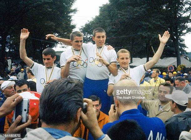 Team Netherlands celebrates winning the Cycling Road Team Time Trial at Hachioji Road Race Course during Tokyo Olympic on October 14 1964 in Hachioji...