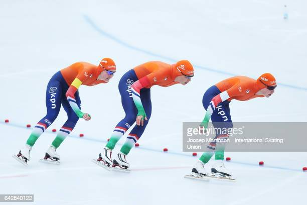 Team Netherlands compete in the ladies team pursuit during day three of the World Junior Speed Skating Championships at Oulunkyla Sports Park on...