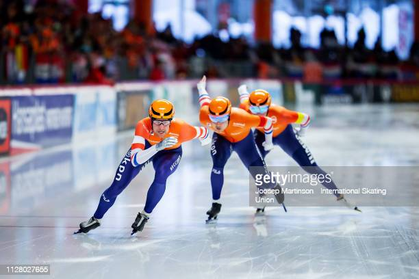 Team Netherlands compete in the Men's Team Sprint during day 1 of the ISU World Single Distances Speed Skating Championships at Max Aicher Arena on...