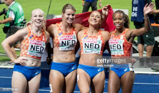 Team Netherlands finishes with Silver with Marije van Hunenstijn Dafne Schippers Naomi Sedney and Jamile Samuel during the Women's 4X100m Final on...
