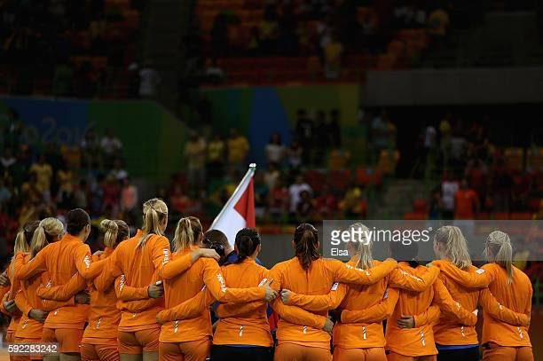 Team Netherlands huddle during the Women's Handball Bronze medal match between Netherlands and Norway at Future Arena on Day 15 of the Rio 2016...