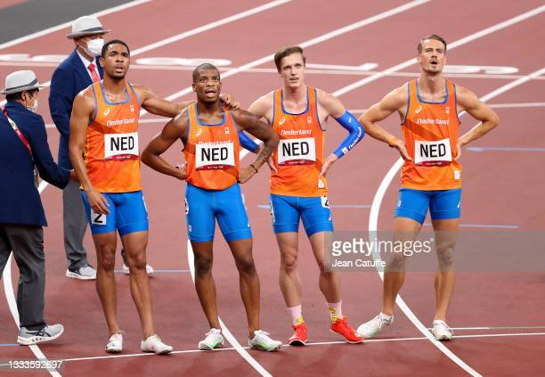 Team Netherlands - Jochem Dobber; Terrence Agard; Tony van Diepen; Ramsey Angela - following the Men's 4 x 400m Relay Semifinal on day fourteen of...