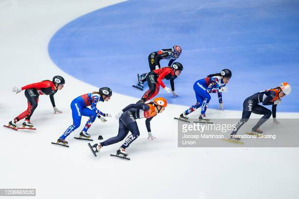 Team Netherlands lead ahead of team Canada and team Russia in the Ladies Relay Final during day 2 of the ISU World Cup Short Track at Sportboulevard...