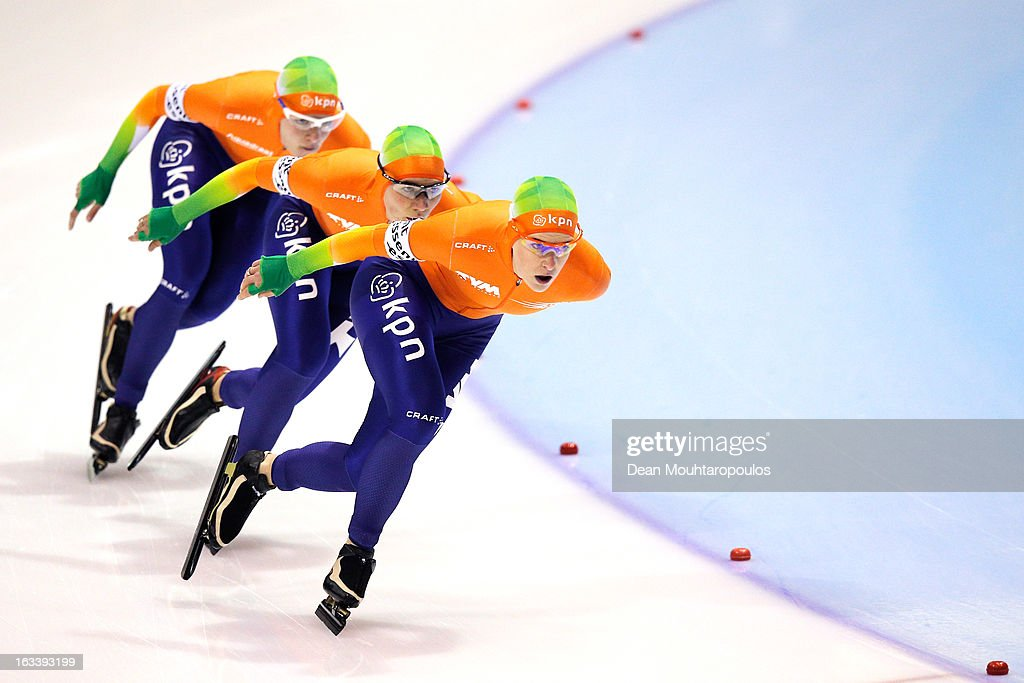 Team Netherlands made of Ireen Wust, Diane Valkenburg and Linda de Vries (front) compete in the Team Pursuit Womens World Cup during Day 1 of the Essent ISU World Cup Speed Skating Championships 2013 at Thialf Stadium on March 8, 2013 in Heerenveen, Netherlands.