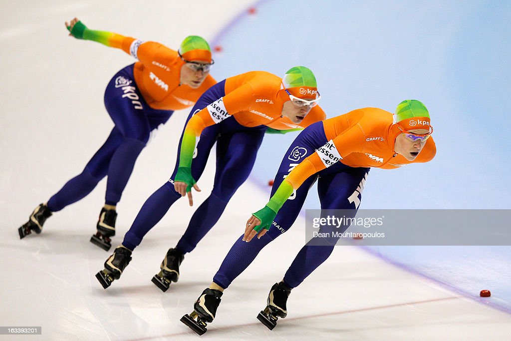Team Netherlands made of Ireen Wust (front), Diane Valkenburg and Linda de Vries compete in the Team Pursuit Womens World Cup during Day 1 of the Essent ISU World Cup Speed Skating Championships 2013 at Thialf Stadium on March 8, 2013 in Heerenveen, Netherlands.