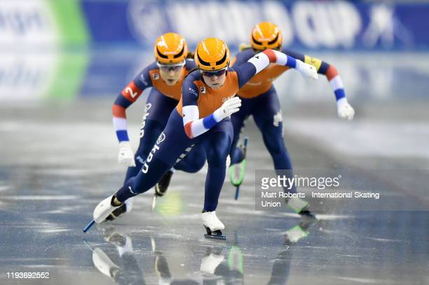 Team Netherlands perform in the Women's Team Sprint during the ISU World Cup Speed Skating at M-Wave on December 13, 2019 in Nagano, Japan.