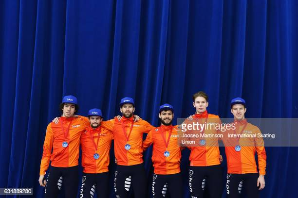 Team Netherlands pose after the Men's 5000m relay final during day two of the ISU World Cup Short Track at Minsk Arena on February 12 2017 in Minsk...