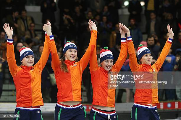 Team Netherlands react in the Ladies 3000m relay medal ceremony during day 2 of the European Short Track Speed Skating Championships at Palavela...