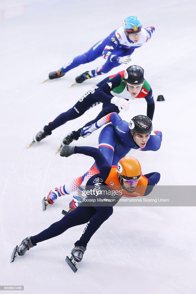 Team Netherlands, team France, team Italy and team Russia compete in the Men's 5000m relay semi finals during day one of the ISU World Cup Short Track at EnergieVerbund Arena on February 4, 2017 in Dresden, Germany.