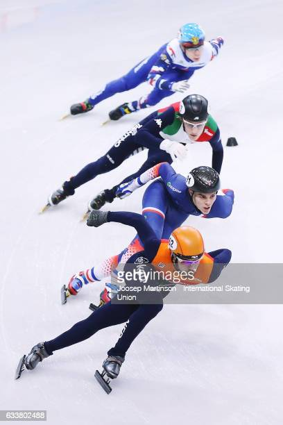 Team Netherlands team France team Italy and team Russia compete in the Men's 5000m relay semi finals during day one of the ISU World Cup Short Track...