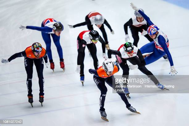 Team Netherlands, team Poland, team Great Britain and team Hungary compete in the Men's Relay during the ISU European Short Track Speed Skating...