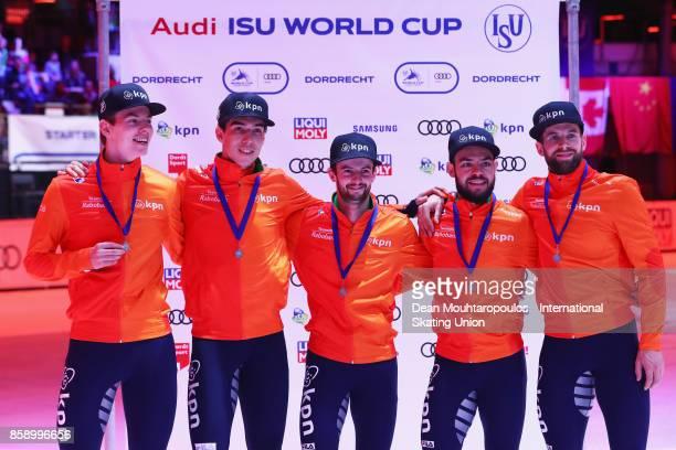 Team Netherlands with Itzhak de Laat Dennis Visser Daan Breeuwsma Sjinkie Knegt and Dylan Hoogerwerf celebrate winning the Mens 5000m Relay Final...
