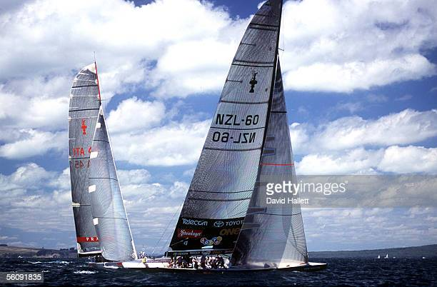 Team New Zealand and Prada in action during race one of the 2000 America's Cup