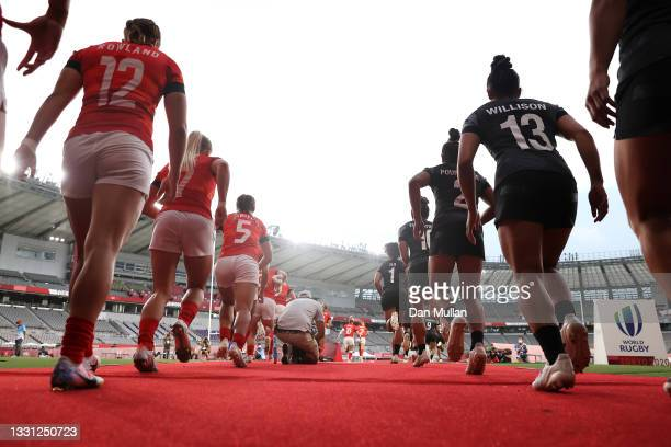 Team New Zealand and Team Great Britain take the field for the Women's pool A match between Team New Zealand and Team Great Britain during the Rugby...