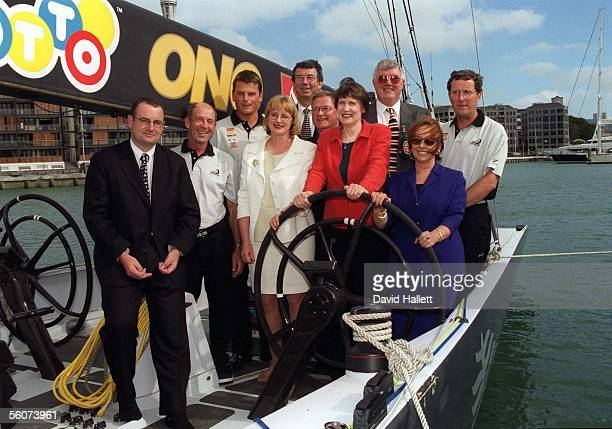 Team New Zealand announce the continuing support of it's main sponsors the family of 5 Onboard the Black boat are from left Trevor Mallard minister...