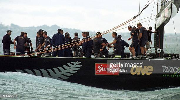 Team New Zealand celebrate their victory after beating Prada and winning the America's Cup series 50