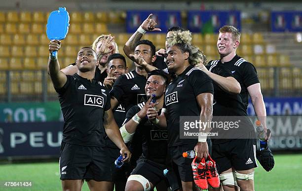 Team New Zealand celebrates a victory at the end of the World Rugby U20 Championship 2015 match New Zealand and Scotland at Stadio Sergio Lanfranchi...