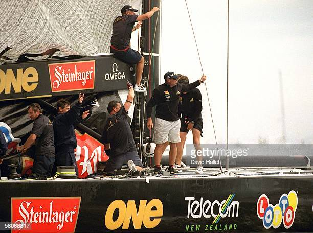 Team New Zealand crew acknowledge supporters after beating Prada and winning the America's Cup series 50