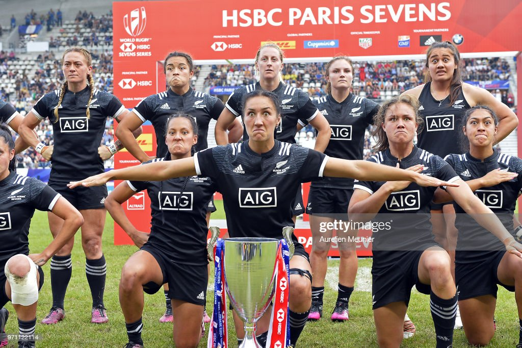 Team New Zealand dance the HAKA after receiving their trophy at the HSBC Paris Sevens, stage of the Rugby Sevens World Series at Stade Jean Bouin on June 10, 2018 in Paris, France.