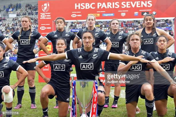 Team New Zealand dance the HAKA after receiving their trophy at the HSBC Paris Sevens stage of the Rugby Sevens World Series at Stade Jean Bouin on...
