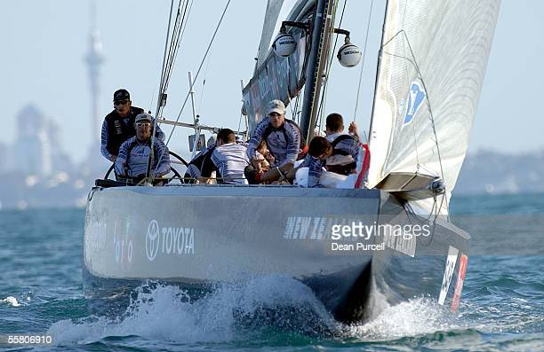 Team New Zealand heads to the windward mark during race two of the America's Cup Alinghi came from behind on the last leg to beat Team New Zealand by...