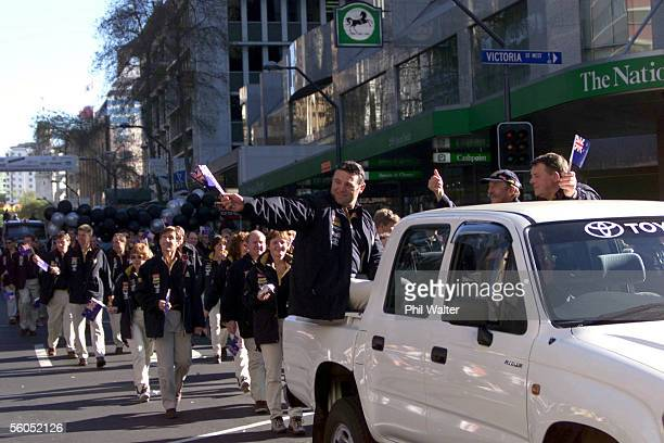Team New Zealand join in the parade down Auckland's Queen Street for the America's Cup which is to start in Auckland this Monday DIGITAL IMAGE