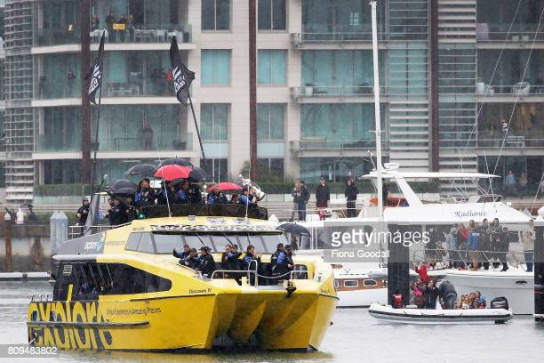 Team New Zealand on the water in the Viaduct Basin during the Team New Zealand Americas Cup Welcome Home Parade on July 6 2017 in Auckland New Zealand