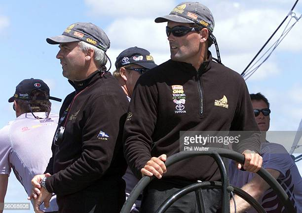Team New Zealand' skipper Russell Coutts right and Brad Butterworth during the first race against Prada in the America's Cup on the Hauraki Gulf...