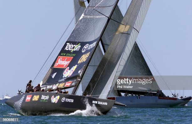 Team New Zealand tack well ahead of Prada's Luna Rossa in race one of the America's Cup on the Hauraki Gulf Auckland Sunday Team New Zealand won the...