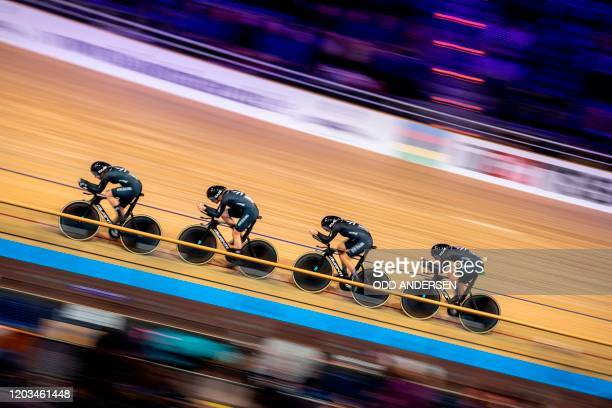 Team New Zealand's Bryony Botha, Rushlee Buchanan,Holly Edmondston and Jaime Nielsen compete in the Women's Team Pursuit qualifying at the UCI track...
