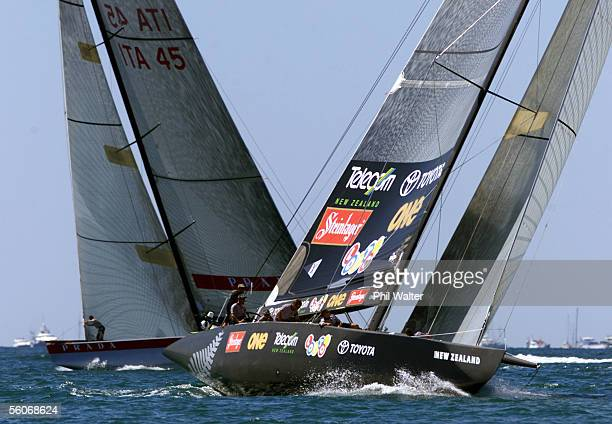 Team New Zealand's NZL60 crosses with Prada's Luna Rossa during Race One of the America's Cup
