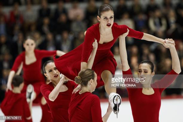 Team Nexxice from Canada perform their free skating during the ISU World Synchronized Skating Championships 2019 in Helsinki, Finland on April 13,...