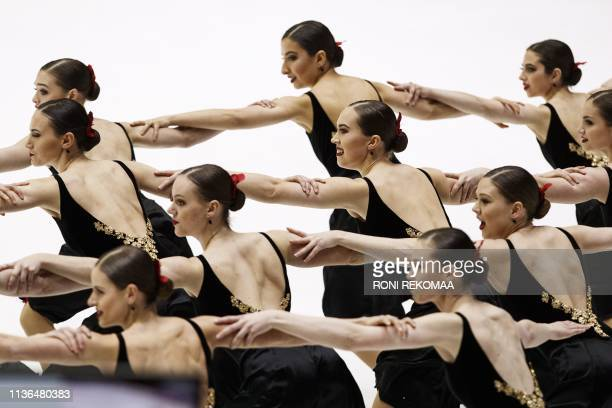 Team Nexxice from Canada perform their short program during the ISU World Synchronized Skating Championships 2019 in Helsinki Finland on April 12...