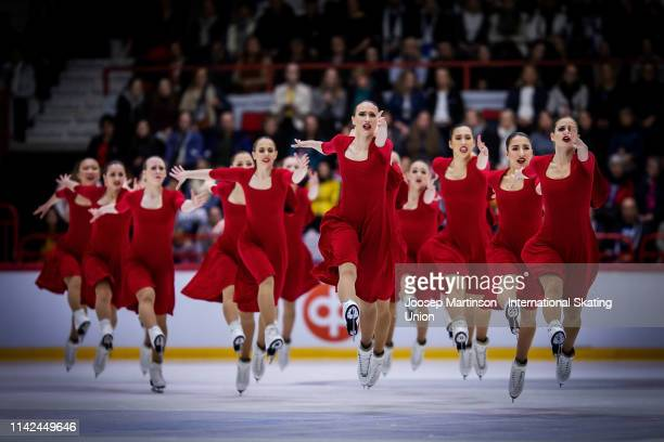 Team Nexxice of Canada perform in the Free Skating during day two of the ISU World Synchronized Skating Championships at Helsinki Arena on April 13,...