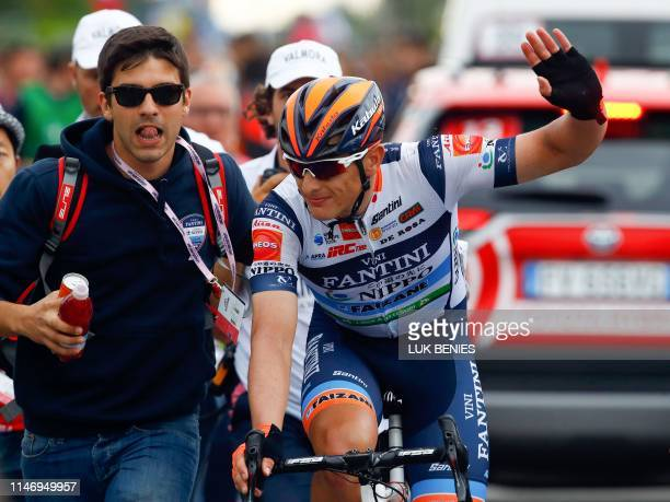 Team Nippo Vini Fantini Faizane' Italian rider Damiano Cima celebrates after winning the 18th stage of the 2019 Giro d'Italia, the cycling Tour of...