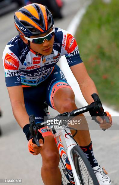 Team Nippo - Vini Fantini rider Japan's Sho Hatsuyama ride during a break away in the stage three of the 102nd Giro d'Italia - Tour of Italy - cycle...