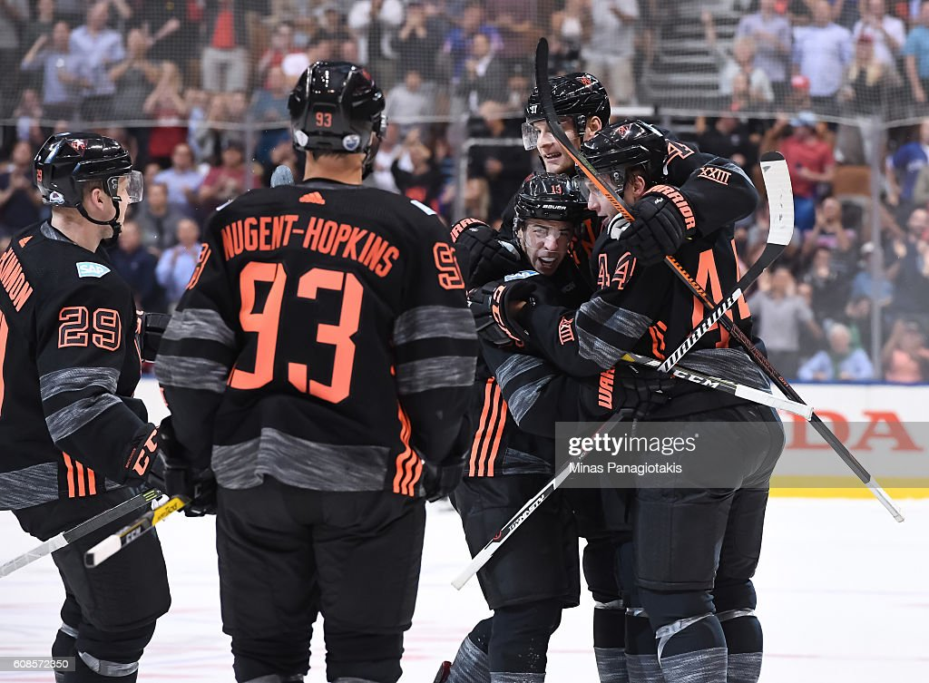 Team North America celebrate after a second period goal on Team Russia during the World Cup of Hockey 2016 at Air Canada Centre on September 19, 2016 in Toronto, Ontario, Canada.