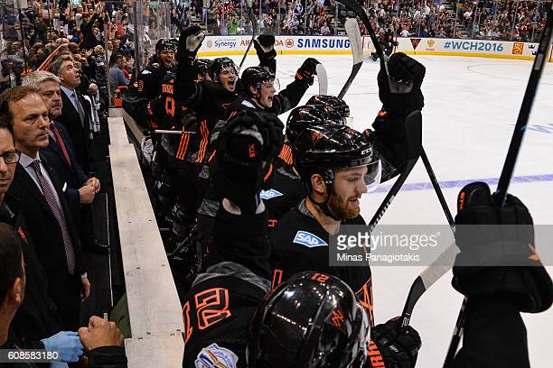 Team North America celebrates a goal on the bench during the World Cup of Hockey 2016 against Team Russia at Air Canada Centre on September 19 2016...