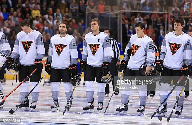 Team North America lines up prior to the game against Team Sweden during the World Cup of Hockey 2016 at Air Canada Centre on September 21 2016 in...