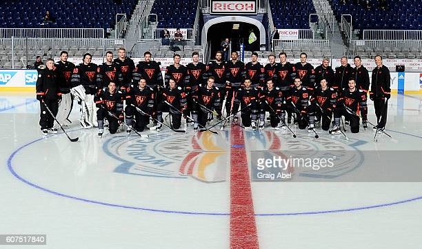 Team North America poses for a team photo at the World Cup of Hockey 2016 at Ricoh Coliseum in Toronto Ontario Canada on September 16 2016