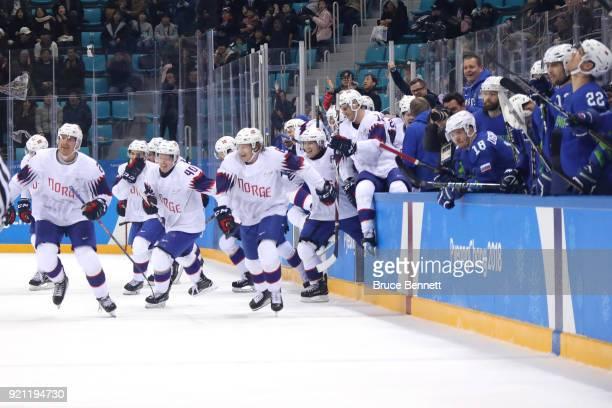 Team Norway celebrate after teammate Alexander Bonsaksen scored the game winning goal against Gasper Kroselj of Slovenia in overtime of the Men's...