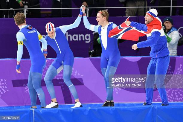 Team Norway celebrate after the men's team pursuit speed skating final at the Pyeongchang 2018 Winter Olympic Games at the Gangneung Oval in...