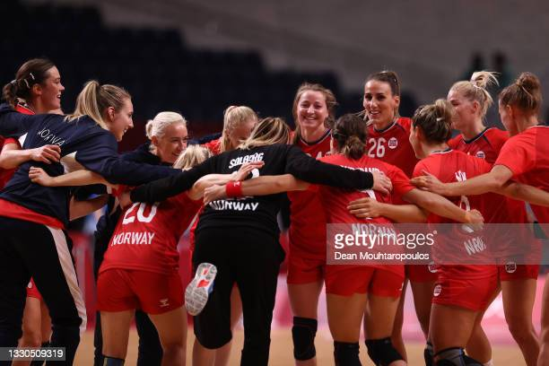 Team Norway celebrate after winning the Women's Preliminary Round Group A match between Norway and South Korea on day two of the Tokyo 2020 Olympic...